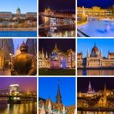 Collage delle immagini di viaggio di Budapest Ungheria le mie foto Fotografia Stock