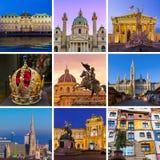 Collage delle immagini di viaggio di Vienna Austria le mie foto Fotografia Stock