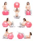 Collage delle palle di forma fisica del fith delle donne incinte Immagine Stock