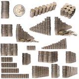 Collage delle pile di 2 monete degli euro Fotografie Stock Libere da Diritti