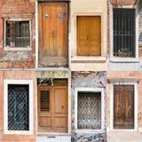 Collage delle porte e delle finestre Fotografia Stock