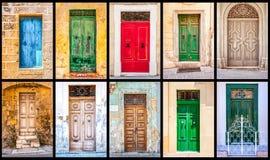 Collage delle porte maltesi antiche variopinte Immagine Stock