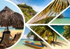 Collage delle scene di festa della spiaggia Fotografia Stock Libera da Diritti