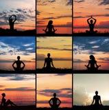 Collage delle siluette di meditare delle giovani donne Immagini Stock Libere da Diritti