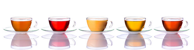 Collage delle tazze di tè Fotografie Stock