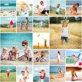 Collage delle vacanze estive delle foto con la sua famiglia Fotografia Stock