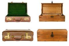 Collage delle valigie e dei toraci isolati Immagine Stock