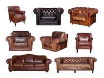 Collage delle vista frontali laterali e del sofà e della sedia di cuoio Fotografia Stock Libera da Diritti