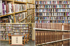 Collage dello scrittorio della scuola di istruzione degli scaffali di libri delle biblioteche Fotografia Stock Libera da Diritti