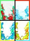 Collage der abstrakte Hand gezeichneten Lackhintergründe Stockfotografie
