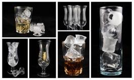 Collage der alkoholischen Getränke Stockbild
