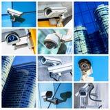 Collage der Überwachungskamera und des städtischen Videos Stockfotos