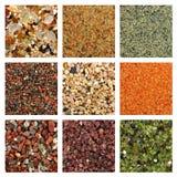 Collage der bunten Sandproben Stockfotos