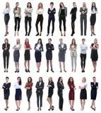Collage der erfolgreichen modernen Geschäftsfrau Lokalisiert auf Weiß stockbild
