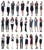 Collage der erfolgreichen modernen Geschäftsfrau Lokalisiert auf Weiß lizenzfreies stockbild