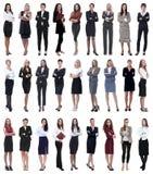 Collage der erfolgreichen modernen Geschäftsfrau Lokalisiert auf Weiß stockfoto