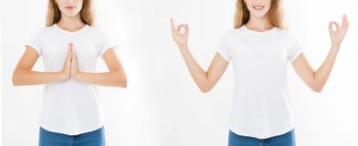 Collage der Frau mit ruhigem und entspanntem Ausdruck, stehend in der Yogahaltung mit den verbreiteten Armen Satz der Nahaufnahme lizenzfreies stockfoto