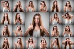 Collage der Frau mit verschiedenen Gesichtsausdrücken Stockbild