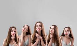 Collage der Frau mit verschiedenen Gesichtsausdrücken Stockfoto
