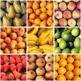 Collage der frischen Früchte Stockfoto