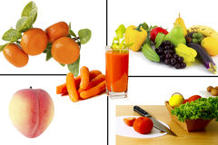 Collage der frischen Obst und Gemüse Stockfotografie