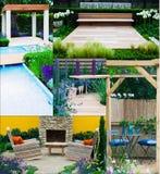 Collage der Gartenlandschaften Lizenzfreies Stockfoto