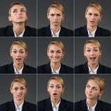 Collage der Geschäftsfrau With Different Expressions lizenzfreie stockfotografie