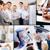 Collage der Geschäftsinteraktion Stockfotografie