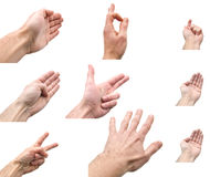 Collage der Hände auf weißem Hintergrund Stockfoto