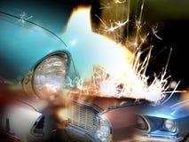 Collage der heißen Autos und der Funken Stockbild