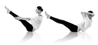 Collage der jungen Frau Yogaübung tuend Lizenzfreie Stockfotos
