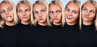 Collage der jungen lustigen Frau, die Grimasse zeigt Lizenzfreie Stockbilder