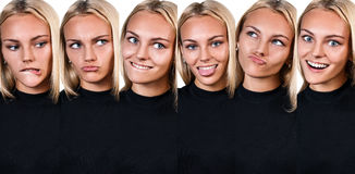 Collage der jungen lustigen Frau, die Grimasse zeigt Lizenzfreie Stockfotos