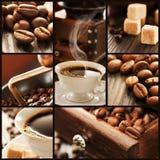 Collage der Kaffeedetails. Lizenzfreie Stockfotografie