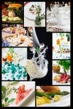 Collage der Nahrungsmittelin verbindung stehenden Abbildungen Stockfotos