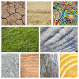 Collage der Natur mit Backsteinmauer und Gummibändern Stockbilder