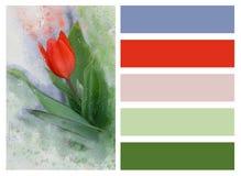Collage der roten Tulpe und der farbigen Rechtecke vektor abbildung