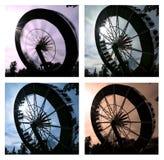 Collage der schönen Karussellfahrt in der Bewegung lizenzfreie stockfotos