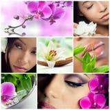 Collage der Schönheit, des Makes-up und der Badekurortthemafotos Stockfotos