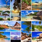 Collage der Sommerstrandbilder Stockfotos