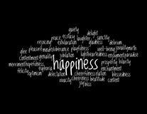 Collage der Synonyme für Glück lizenzfreie abbildung
