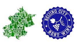 Collage der Trauben-Wein-Karte Peking-Stadtbezirkes und der besten Wein-Schmutz-Robbe stock abbildung