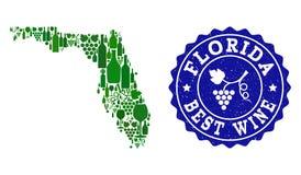 Collage der Trauben-Wein-Karte der Staat Florida und des besten Wein-Schmutz-Stempels stock abbildung