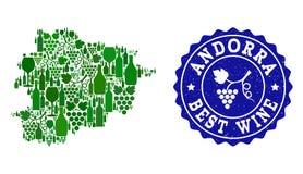 Collage der Trauben-Wein-Karte von Andorra und von bestem Wein-Schmutz-Wasserzeichen lizenzfreie abbildung