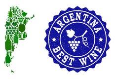 Collage der Trauben-Wein-Karte von Argentinien und von bestem Wein-Schmutz-Wasserzeichen stock abbildung