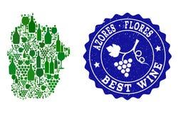 Collage der Trauben-Wein-Karte von Azoren - von Flores-Insel und von bestem Wein-Schmutz-Wasserzeichen lizenzfreie abbildung