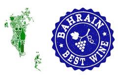 Collage der Trauben-Wein-Karte von Bahrain und von bester Wein-Schmutz-Robbe lizenzfreie abbildung