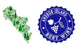 Collage der Trauben-Wein-Karte von Griechenland- - Andros-Insel und von bestem Wein-Schmutz-Stempel stock abbildung