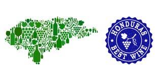 Collage der Trauben-Wein-Karte von Honduras und von bester Wein-Schmutz-Robbe lizenzfreie abbildung