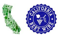 Collage der Trauben-Wein-Karte von Kalifornien und von bestem Wein-Schmutz-Wasserzeichen stock abbildung